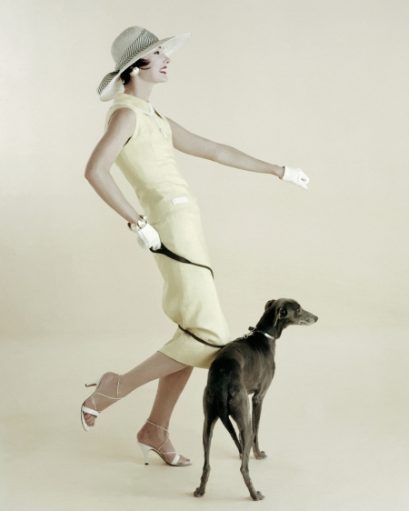 Model Walking the Dog, Vogue, 1955 richard-rutledge-vogue-january-1955
