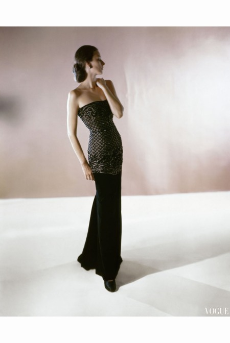 Model Wearing Strapless Gown of Jet and Velvet by Leslie Morris  oct 1946