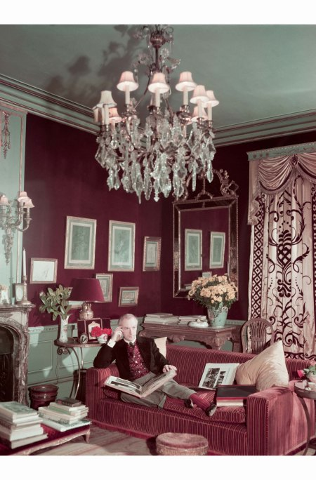 n the drawing room of Reddish House, Wiltshire, 1951. His antique Austrian waistcoat was likely purchased in the 1930s. Photograph by Paul Popper