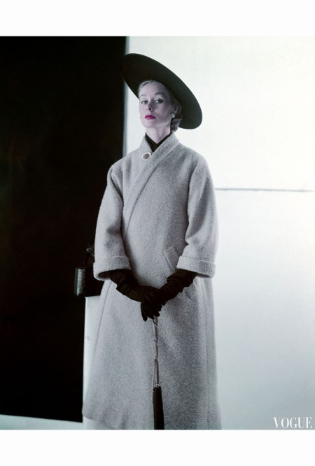 Nina De Voe Model in Wheat Wool Tweed Coat That Is Shaped Like a Bathrobe feb 1952