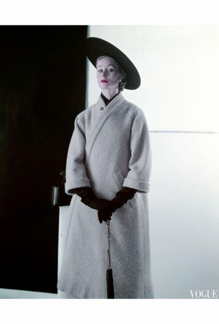 Nina De Voe Model in Wheat Wool Tweed Coat That Is Shaped Like a Bathrobe feb 1952