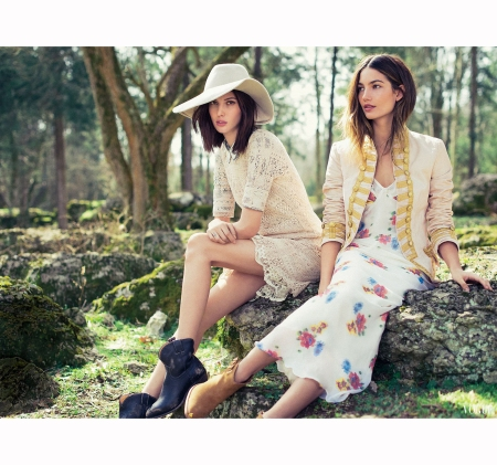 Ruby & Lily Aldridge – %22Vintage Reserve%22 Vogue, May 2013 © Sebastian Kim
