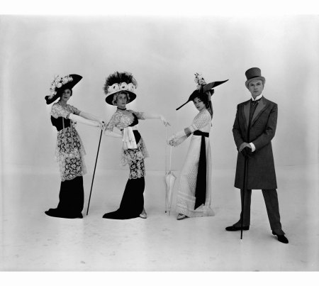 Self-portrait with actresses dressed for the %22Ascot%22 scene in the Broadway production of My Fair Lady, 1956