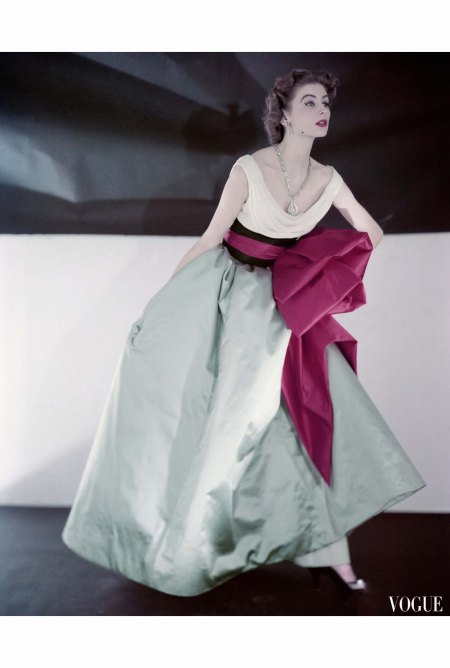 Suzy Parker wearing Jacques Fath evening dress made in three separate pieces Vogue 1952 © Horst P.Horst