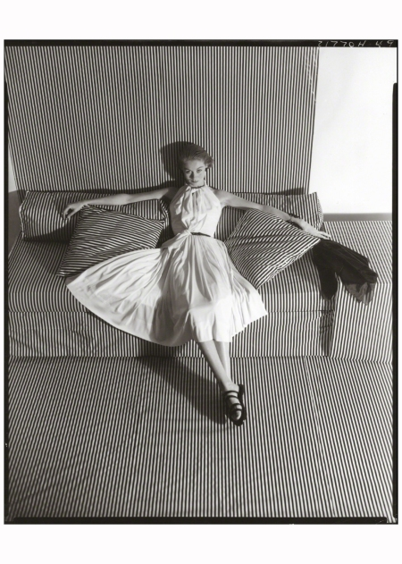 white-dress-on-striped-sofa-ii-1951-photo-horst-p-horst