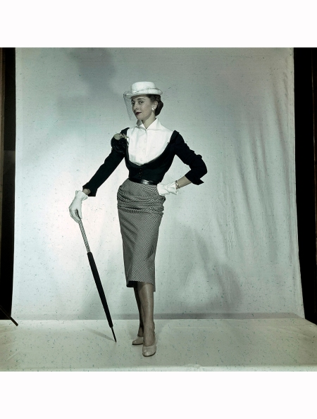 Women's Collections Spring 1951 Marie-Thérèse in ensemble by Pierre Balmain, Spring Collection, 1951 Walter Carone
