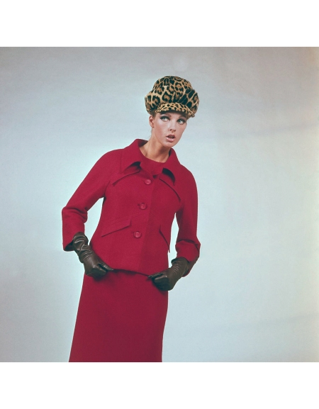 worn with a matching skirt and leopard print hat by Valentino of Rome for his 1964-65 Autumn:Winter collection released in August 1964 Popperphoto