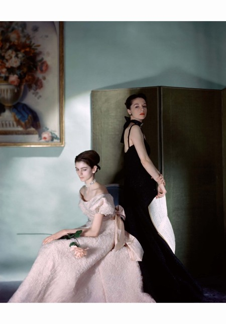 Carmen Dell'Orefice  left in a pink cloque gown by Mark Mooring at Bergdorf Goodman Vogue July 1946 Cecil Beaton