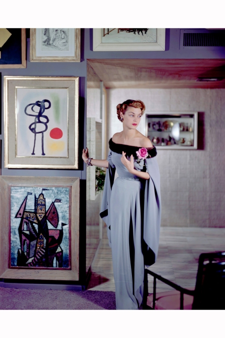 1950-jean-patchett-models-and-evening-dress-designed-by-netti-rosenstein-at-famous-industrial-designer-raymond-loewys-apartment-image-by-genevieve-naylor