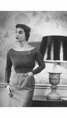 cherry-nelms-posing-in-british-fashion-designer-digby-mortons-tricky-top-with-jersey-pulled-diagonally-1952-nina-leen