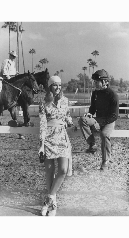 cheryl-tiegs-in-a-shirtdress-by-lilly-pulitzer-at-the-santa-anita-race-track-photographed-by-henry-clarke-may-1971