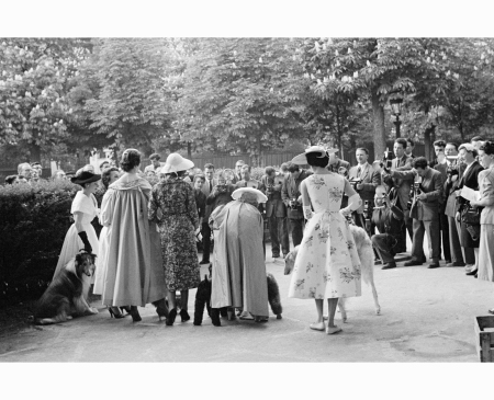 france-paris-1954-the-outside-garden-of-les-ambassadeurs-the-restaurant-where-the-contest-took-place-beauty-and-the-beast-fashion-contest