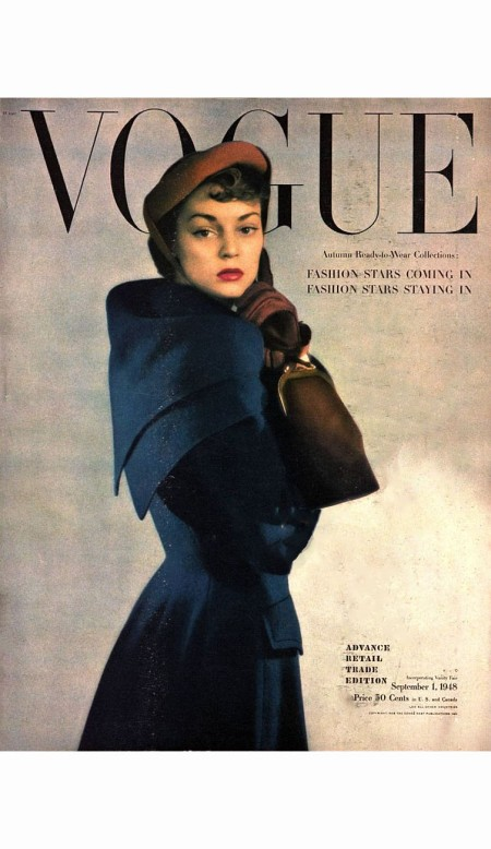 model-jean-patchett-in-blue-wool-suit-with-scarf-hat-and-handbag-vogue-sept-1949-serge-balkin