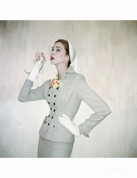model-wearing-double-breasted-gray-wool-suit-by-sophie-vogue-1953-clifford-coffin