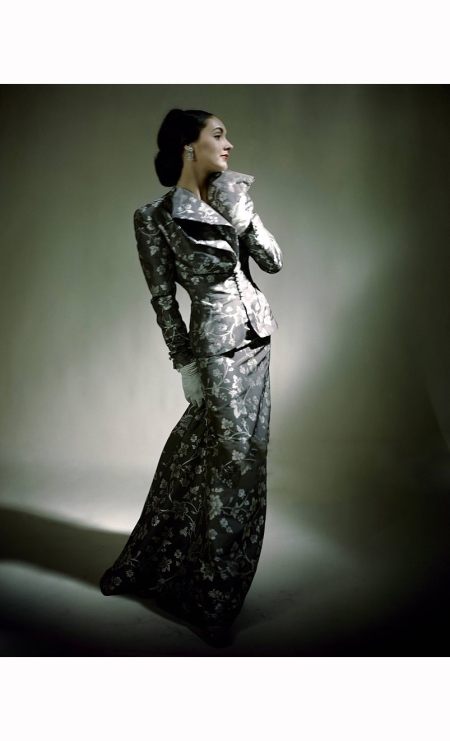 muriel-king-in-brocaded-grey-rayon-taffeta-and-white-flowered-evening-suit-constantin-joffe