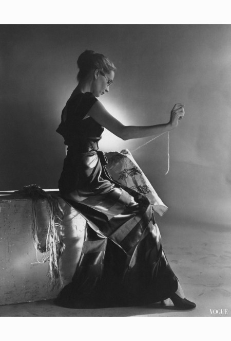 cecil-beaton-vogue-october-1944-woman-embroidering-in-evening-gown