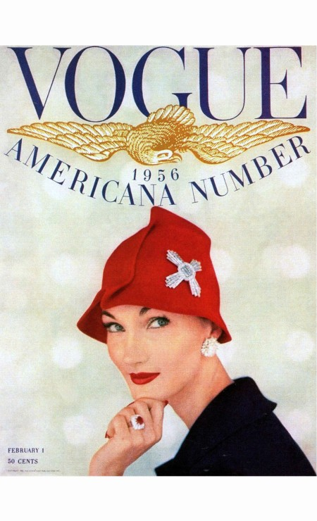evelyn-tripp-in-red-felt-cloche-pinned-with-diamond-maltese-cross-ruby-and-diamond-ring-and-diamond-earrings-all-by-harry-winston-cover-photo-by-karen-radkai-february-1-1956