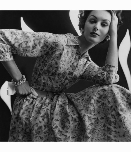 lucinda-hollingsworth-pattern-s-4748-became-an-onodaga-printed-silk-shirtwaist-dress-modeled-here-with-bergere-earrings-and-a-matching-bracelet-a-trim-leather-belt-and-white-gloves-glamour-jan-195
