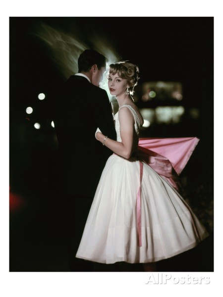 model-in-white-chiffon-and-lace-party-dress-by-jonny-herbert-and-pink-satin-stole-by-emily-wetherby-glamour-oct-1957-sante-forlano