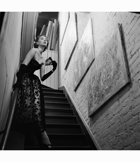 actress-in-evening-gown-on-stairway-1950-genevieve-naylor