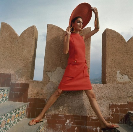 Benedetta barzini at the Castello San' Nicola outside of Palermo, Italy Dec 1967 © Henry Clarke