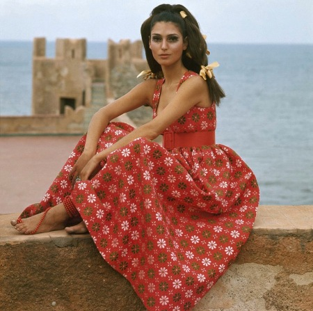 Benedetta Model at the Castello San' Nicola outside of Palermo, Italy dec 1967