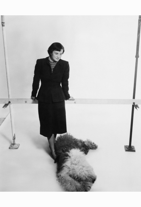 designer-florence-knoll-and-her-dog-posing-house-garden-july-1949-herbert-matter