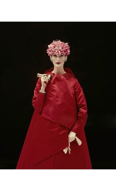 mary-jane-russell-wearing-red-satin-evening-coat-with-kabuki-like-folds-with-a-jeweled-chrysanthemum-hat-coat-by-arnold-scaasi-richard-rutledge