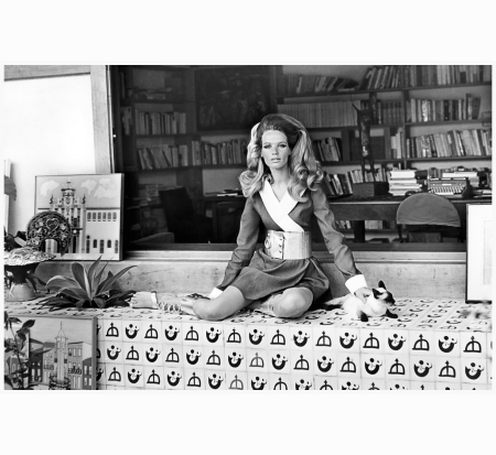 veruschka-sitting-with-a-siamese-cat-in-front-shelf-of-books-in-brazilian-writer-jorge-amados-house-wearing-denim-mini-kimono-with-white-trim-designed-by-sylvia-de-gay-and-aluminum