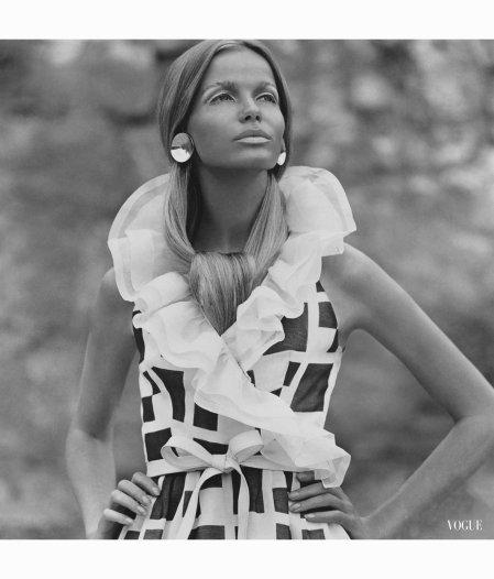 veruschka-wearing-sleeveless-fisher-calderon-belt-napier-polished-silver-disk-earrings-dynel-ha