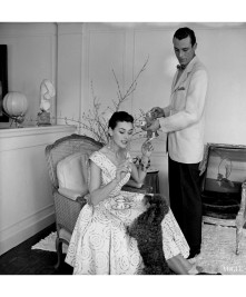 anne-gunning-parker-seated-wearing-a-short-dinner-dress-with-a-gold-sequin-pattern-with-a-poodle-and-an-unidentified-man-in-a-linen-coat-and-bow-tie-pouring-coffee-horst-p-horst-vogue-may-1954-4