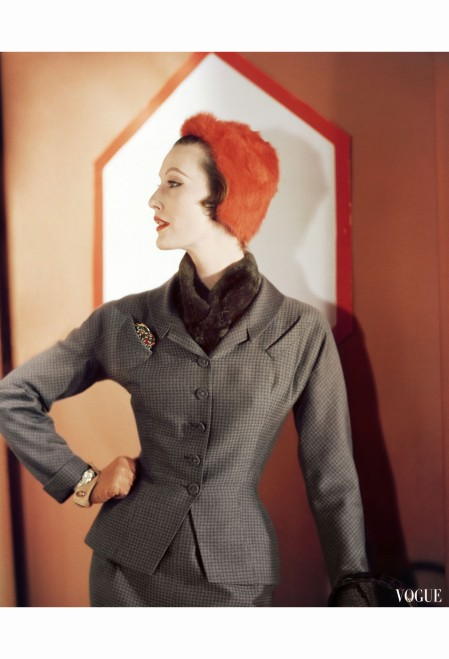 mary-jane-russell-in-a-brown-checked-suit-by-adele-simpson-worn-with-bright-orange-fur-cap-by-lilly-dache-vogue-september-1-1953-horst-p-horst