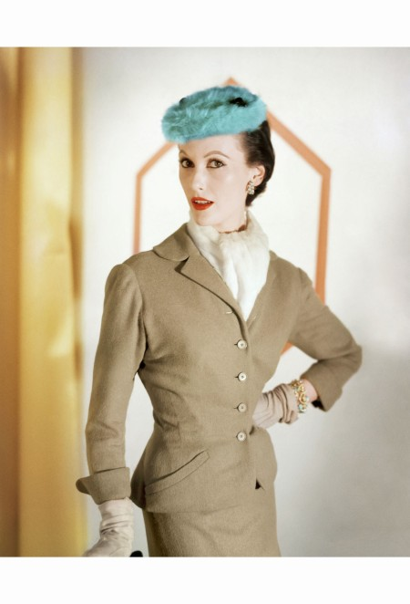 mary-jane-russell-wearing-a-camel-wool-suit-by-mollie-parnis-and-a-fur-turquoise-hat-by-emme-sept-1953