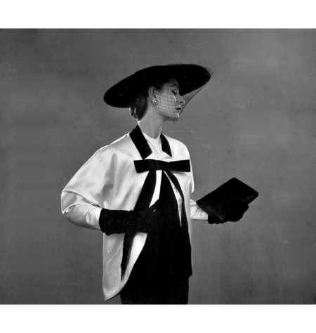 model-in-white-satin-jacket-trimmed-with-black-grosgrain-ribbon-by-jacques-fath-veiled-hat-by-simon-cange-photo-by-pottier-1952