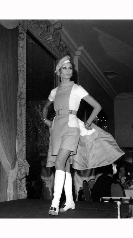 nati-abascal-wears-a-red-and-white-knee-length-midi-dress-by-the-designer-that-unzipped-to-reveal-mini-culottes-at-the-american-designer-series-in-new-york-jan-1968