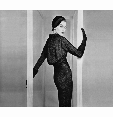 rose-marie-in-woven-black-metal-jersey-dress-the-blouson-top-is-draped-at-the-waist-narrow-sleeves-and-pencil-skirt-accentuates-the-sinous-line-by-jacques-fath-1954-philippe-pottier