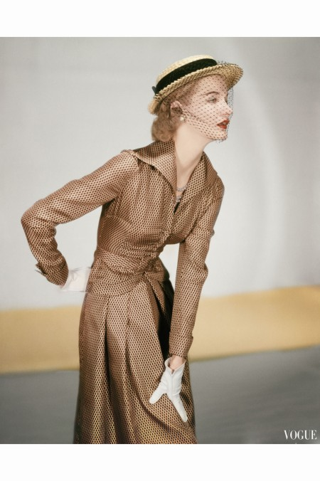 sunny-harnett-wearing-a-jose-martin-suit-silk-twill-in-cocoa-with-black-miniature-prints-feb-1951