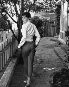 Audrey strolls in front of her Beverly Hills apartment Hepburn, Hollywood, 1953