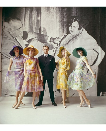 Dior creative director Marc Bohan with models from his first collection (Spring-Summer 1961)