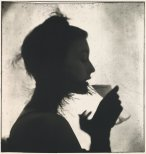 Girl Drinking (Mary Jane Russell). New York, 1949. Made with a single platinum-palladium coating that, when dry, was exposed to a combination of enlarged negatives
