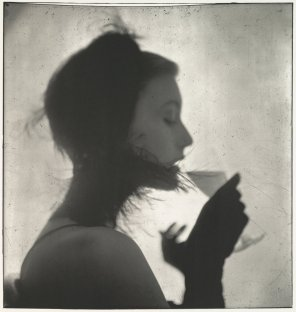 Girl Drinking (Mary Jane Russell). New York, 1949. Platinum-palladium print made with two successive coating and exposure sequences on bright white Bienfang paper.