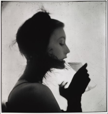 Girl Drinking (Mary Jane Russell). New York, 1949. Using an enlarger, Penn projected his original 2 1:4-inch negatives onto commercial gelatin silver paper, processed the exposed sheet,