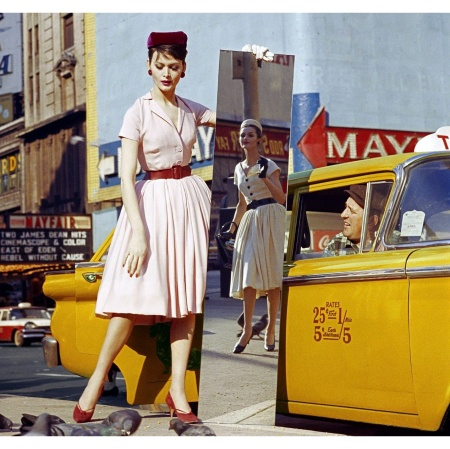 Anne + Isabella + Mirror + Taxi, Broadway & 46th Street, New York, 1959