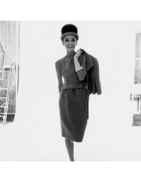 Audrey Hepburn, actress, modeling tweed suit by Givenchy © Bert Stern