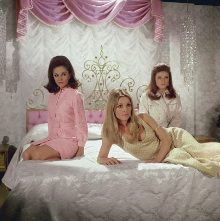 Barbara Parkins (as Anne Welles), Tate (as Jennifer North), and Patty Duke (as Neely O_Hara), posing for Valley of the Dolls, 1967