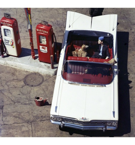 Chevrolet Impala + Gas Pumps, 6th Avenue, New York, 1959