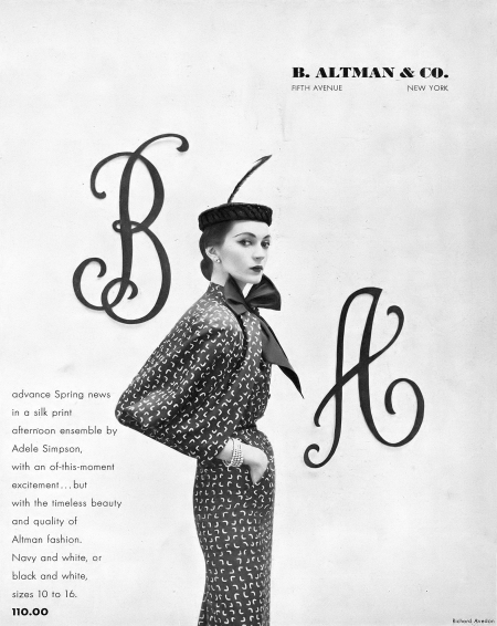 Dovima in silk print ensemble by Adele Simpson for B. Altman & Co., photo by Richard Avedon, Harper's Bazaar, February 1951