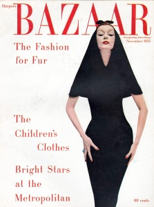 Dovima wearing a hooded dinner dress by Balenciaga from 1949 cover