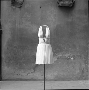 Draped silk dress in white jersey, Alaïa SS91 Ilvio Gallo, 1996
