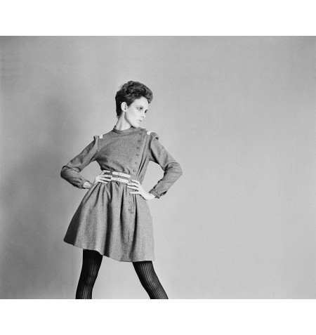 Grace Coddington showing a grey flannel day dress and buckle belt by Christiane Bailly, 18th April 1967. © McKeown